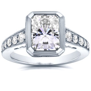 Annello by Kobelli 14k White Gold 3ct TCW Radiant Bezel Moissanite and Diamond Antique Engagement Ri