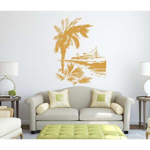 The port city of ship Wall Art Sticker Decal Orange