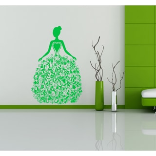 Elegant woman and heart Wall Art Sticker Decal Green