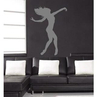 Dancing girl Wall Art Sticker Decal Silver