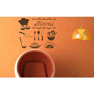 Cafe bar coffee Tea cup menu Wall Art Sticker Decal Brown