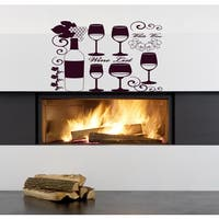 Wine glass grapes Wall Art Sticker Decal Red