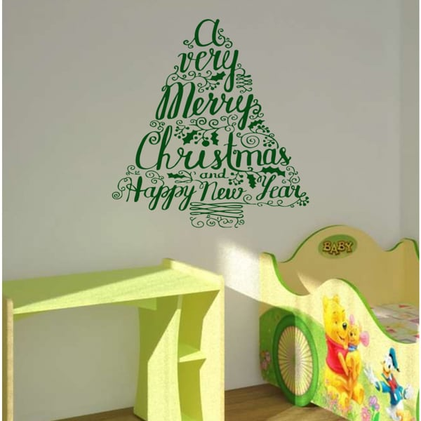 Shop Christmas tree Wall Art Sticker Decal Green - Free Shipping On ...