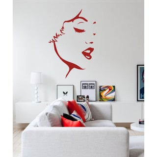 Silhouette of a girl face Wall Art Sticker Decal Red
