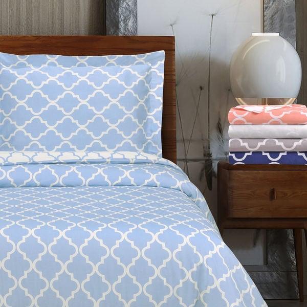 Miranda Haus 300 Thread Count Reversible Trellis Cotton Duvet Cover Set