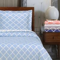 Superior 300 Thread Count Reversible Trellis Cotton Duvet Cover Set