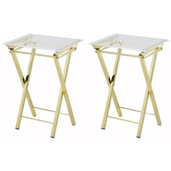 Mari Folding Tray Table   Set Of 2   Free Shipping Today   Overstock.com    18632506