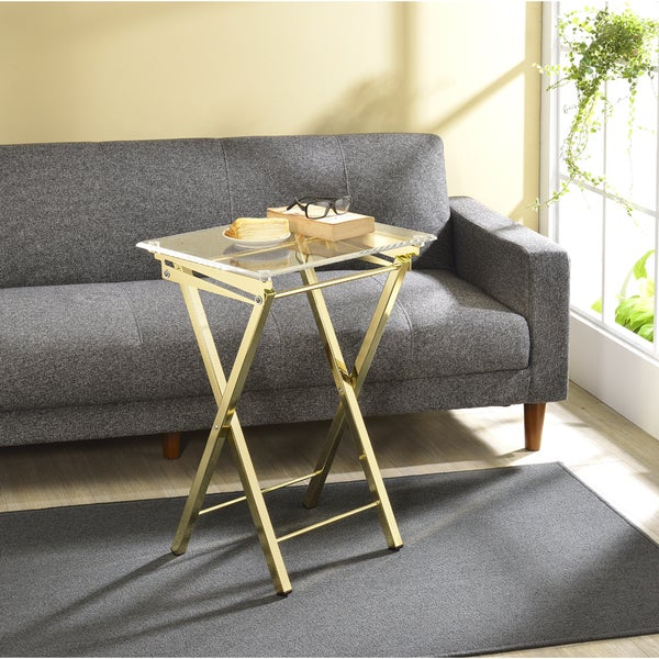 Coffee Table Tray Home Goods: Shop Silver Orchid Hutton Folding Tray Table 2-piece Set