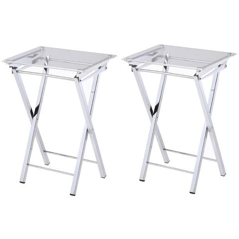 Silver Orchid Hutton Folding Tray Table 2-piece Set