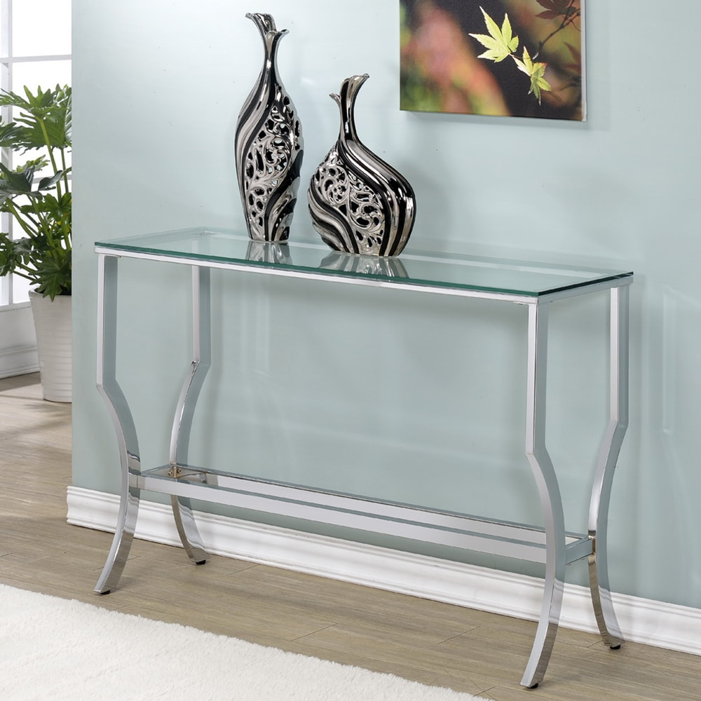 Unbranded Amy Glass Console (Console Table), Silver