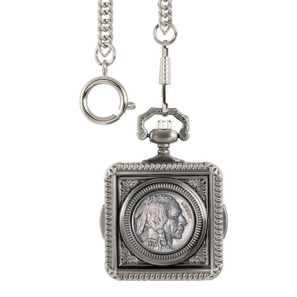 American Coin Treasures Buffalo Nickel Square Pocket Watch