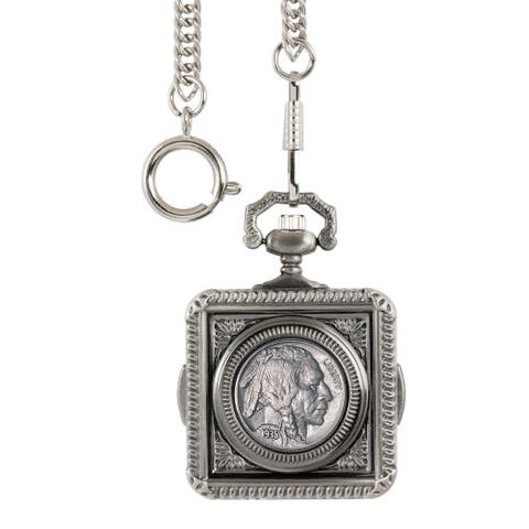 American Coin Treasures Buffalo Nickel Square Pocket Watch - Silver