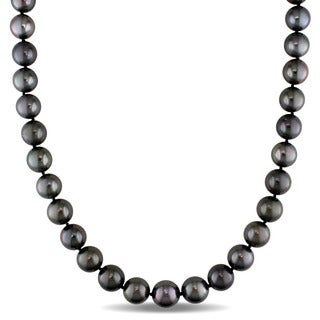 Miadora Signature Collection 14k White Gold Black Tahitian Graduated Pearl Strand Necklace (9-11mm)