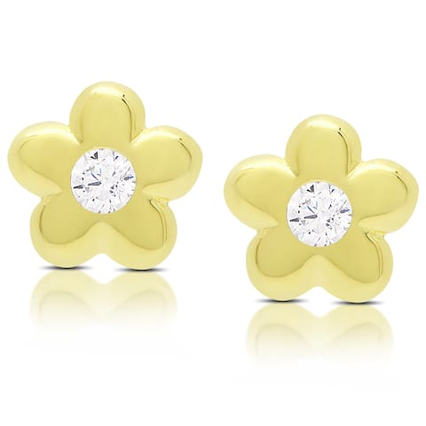 Molly and Emma Gold Over Sterling Silver Cubic Zirconia Flower Stud Earrings - Yellow
