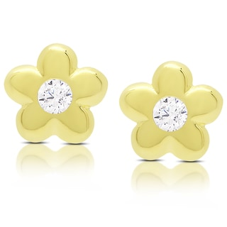 Link to Molly and Emma Gold Over Sterling Silver Cubic Zirconia Flower Stud Earrings - Yellow Similar Items in Children's Jewelry