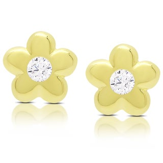 Molly and Emma Gold Over Sterling Silver Cubic Zirconia Flower Stud Earrings