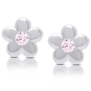 Molly and Emma Sterling Silver Pink Cubic Zirconia Flower Stud Earrings