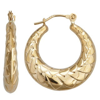 Decadence 14k Yellow Gold Polished Chevron Hoop Earrings