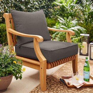 Sunbrella Charcoal Gray 2-piece Cushion and Pillow Indoor/Outdoor Set