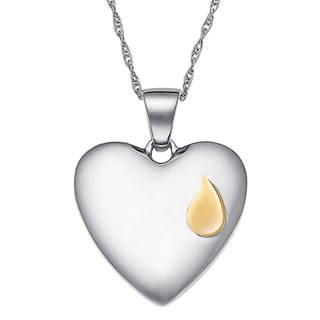 Sterling Silver Memorial Teardrop Heart Pendant