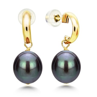 DaVonna 14k Yellow Gold 'C' Shape 8-9mm Long Shape Black Freshwater Cultured Pearl Dangle Stud Earrings