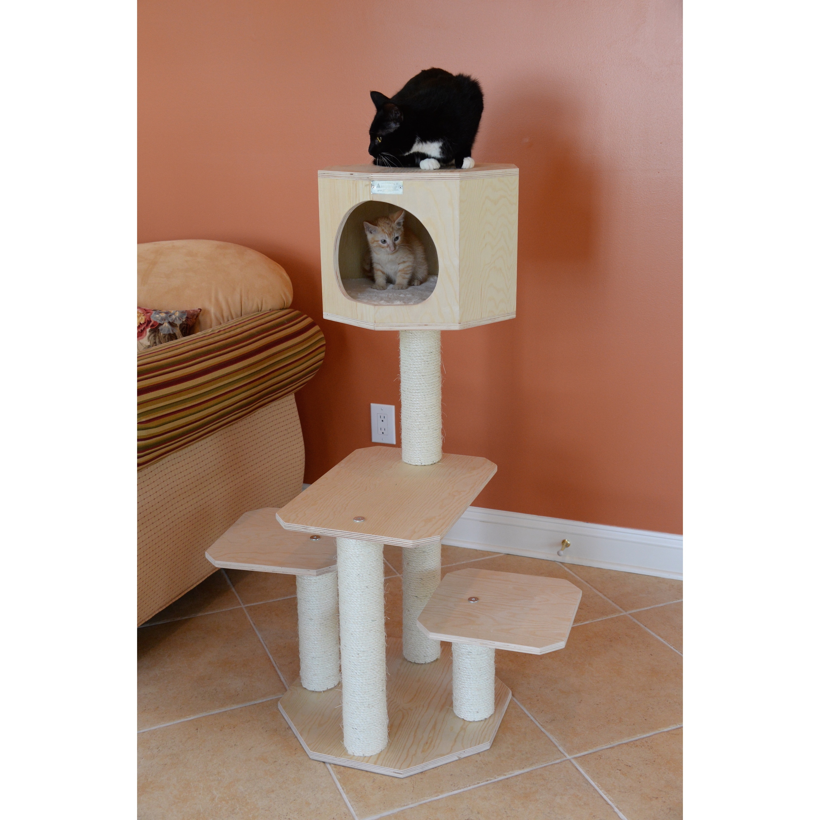 tower sisal play tree kitty cat beige house post condo hiding index pole be pet furniture scratch