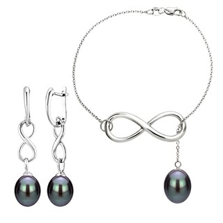 DaVonna Sterling Silver 8-9mm Black Freshwater Pearl Infinity Bracelet and Earrings