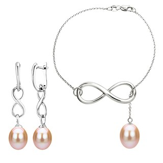 DaVonna Sterling Silver 8-9mm Pink Freshwater Pearl Infinity Bracelet and Earrings