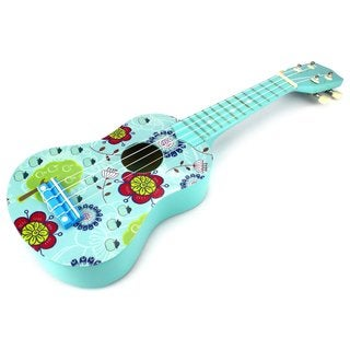 Velocity Toys Graphic Ukulele 4 Stringed Toy Guitar Lute Musical Instrument (Light Blue)