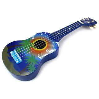Velocity Toys Graphic Ukulele 4 Stringed Toy Guitar Lute Musical Instrument (Dark Blue)