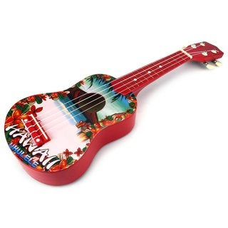 Velocity Toys Graphic Ukulele 4 Stringed Toy Guitar Lute Musical Instrument (Red)
