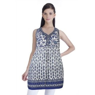 Handmade In-sattva Meena Bindra Women's Printed Sleeveless Tunic (India)