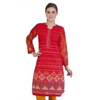 In-sattva Women's Gradiated Whimsical Print Indian Kurta Tunic (India)