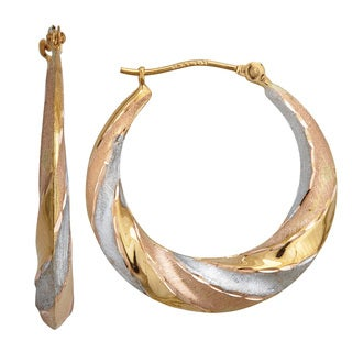 Decadence 14k Tri-color Gold Polished and Satin Swirl Hoop Earrings