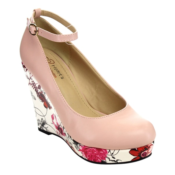 4f15c246f05 Shop I HEART COLLECTION ELLA-01 Floral Ankle Strap Wedges - Free ...