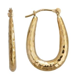 14k Yellow Gold DC Textured U-Hoop Earrings