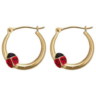Decadence 14k Yellow Gold Enamel Ladybug Hoop Earring