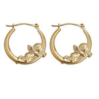 Decadence 14k Yellow Gold Cherub Hoop Earrings