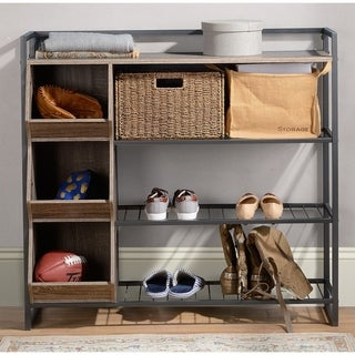 4 Shelf Shoe Rack with 3 Cubbies