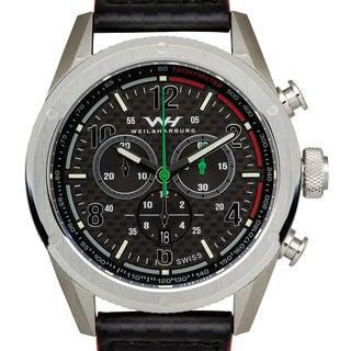 Weil & Harburg Peake Mens Swiss Chronograph Carbon Fiber Dial Carbon Fiber Leather Strap Superluminova Watch