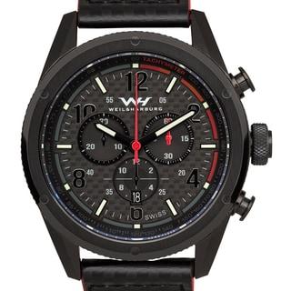 Weil & Harburg Peake Men's Swiss Chronograph Carbon Fiber Superluminova Watch with Leather Strap