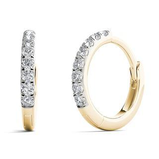 AALILLY 10k Yellow Gold 1/10ct TDW Diamond Elegant Hoop Earrings