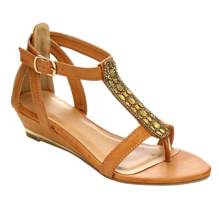 I HEART COLLECTION Ankle Strap Beaded Thong Sandals