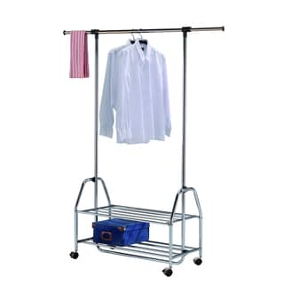 Single Bar Adjustable Rolling Garment Rack