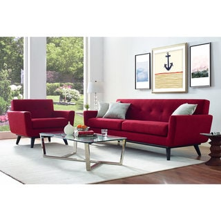 James Red Linen Sofa and Arm Chair