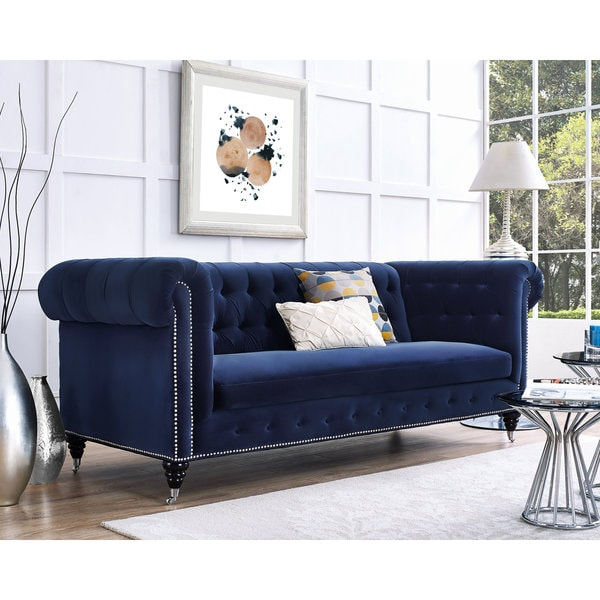 Hanny navy blue velvet nailhead trim tufted sofa free for Navy blue tufted sectional sofa
