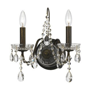 Crystorama Transitional 2-light English Bronze Wall Sconce