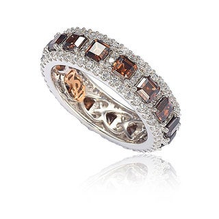 Suzy Levian Sterling Silver Cubic Zirconia Brown and White Modern Eternity Band