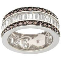 Suzy Levian Sterling Silver Cubic Zirconia Brown and White Baguette Eternity Band