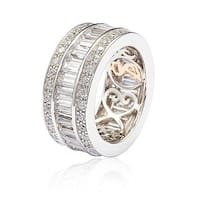 Suzy Levian Sterling Silver Cubic Zirconia White Baguette Modern Eternity Band